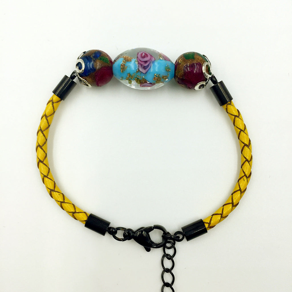 Triple Flower Turquoise and Gemstone Beads on Yellow Leather,  - MRNEIO LLC
