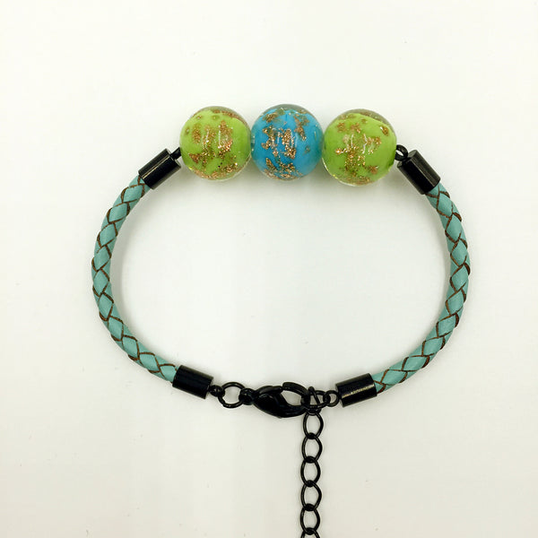Triple Gold Leaf Sky Blue and Green Beads on Turquoise Leather,  - MRNEIO LLC