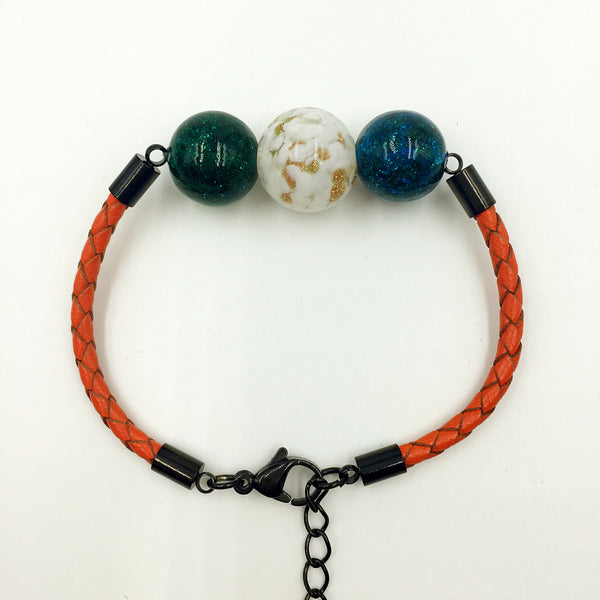 Triple Gold Leaf White and Dark Blue and Green Beads on Orange Leather,  - MRNEIO LLC