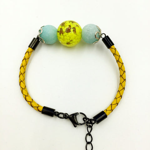 Turquoise Macaron Yellow Bead on Lemon Leather