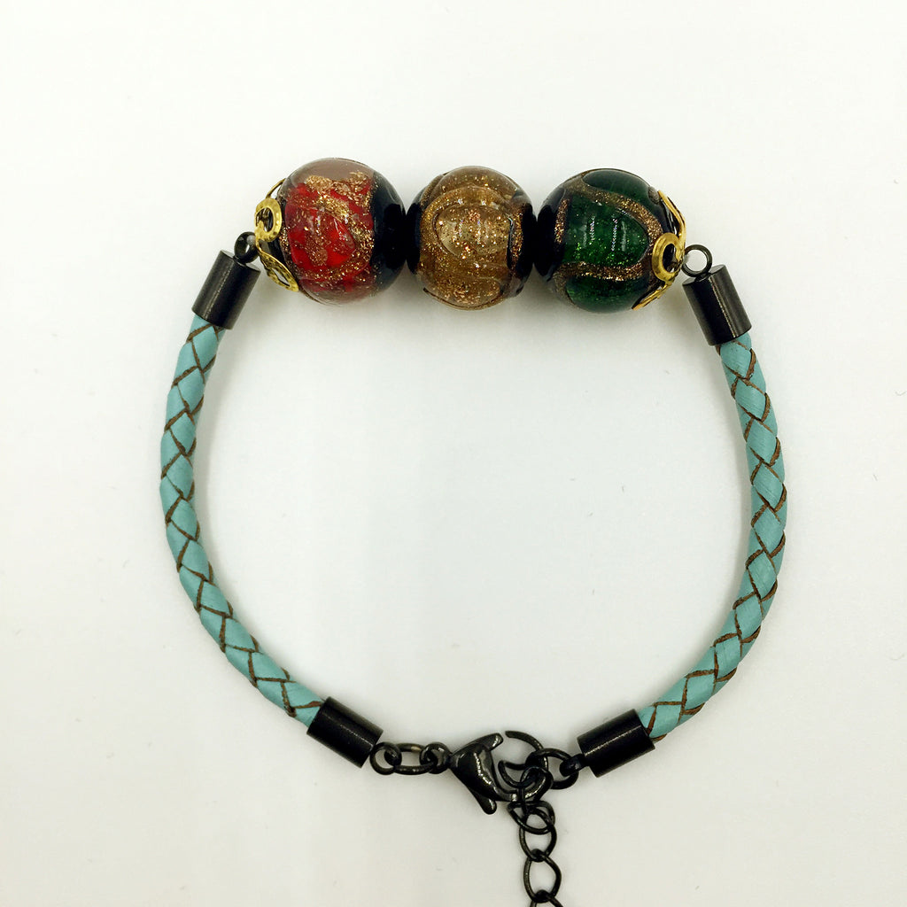 Triple Stellar Brown, Red and Green Beads on Turquoise Leather,  - MRNEIO LLC