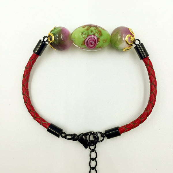 Triple Flower Green and Gemstone Beads on Red Leather,  - MRNEIO LLC