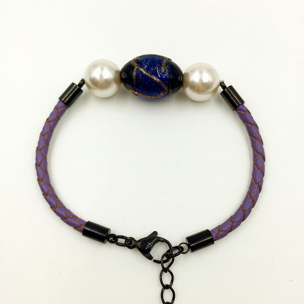 White Pearl Stellar Blue Bead on Purple Leather