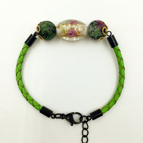 Triple Flower White and Gemstone Beads on Green Leather,  - MRNEIO LLC