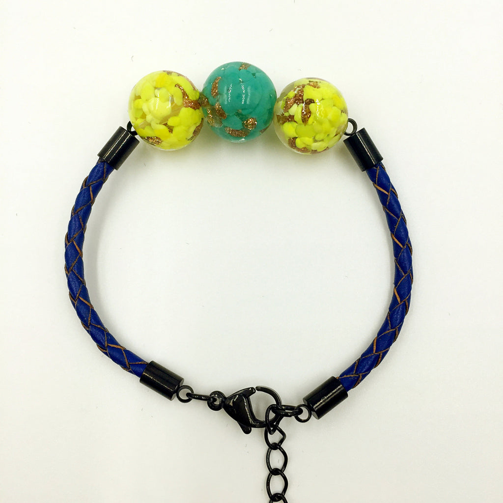 Triple Gold Leaf Blue/Green and Yellow Beads on Navy Blue Leather,  - MRNEIO LLC