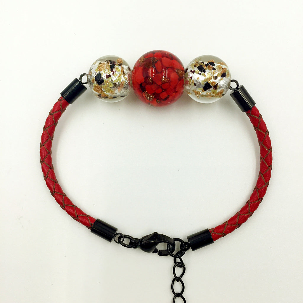 Triple Red and Gold Leaf White Beads on Red Leather,  - MRNEIO LLC