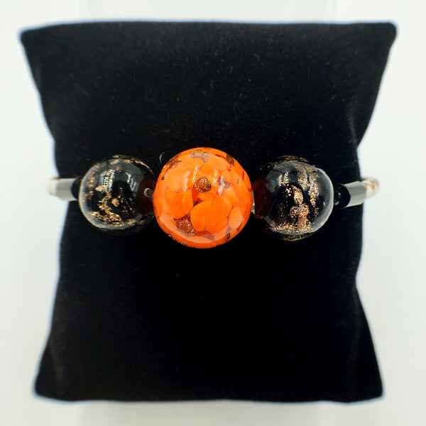 Triple Orange and Black Beads on White Leather,  - MRNEIO LLC