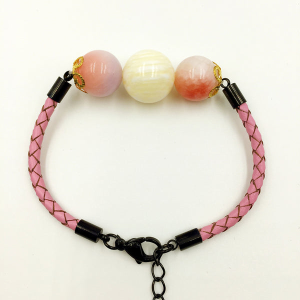 Faux Cream Yellow and Purple/Pink Gemstones on Pink Leather,  - MRNEIO LLC