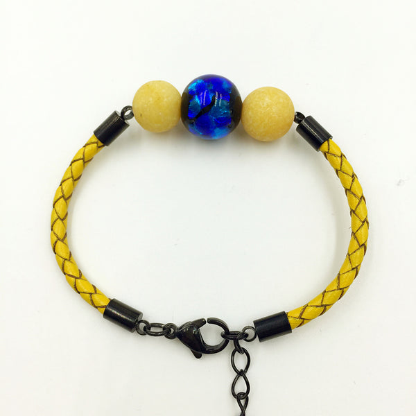 Yellow Macaron Florescent Blue Bead on Lemon Leather,  - MRNEIO LLC