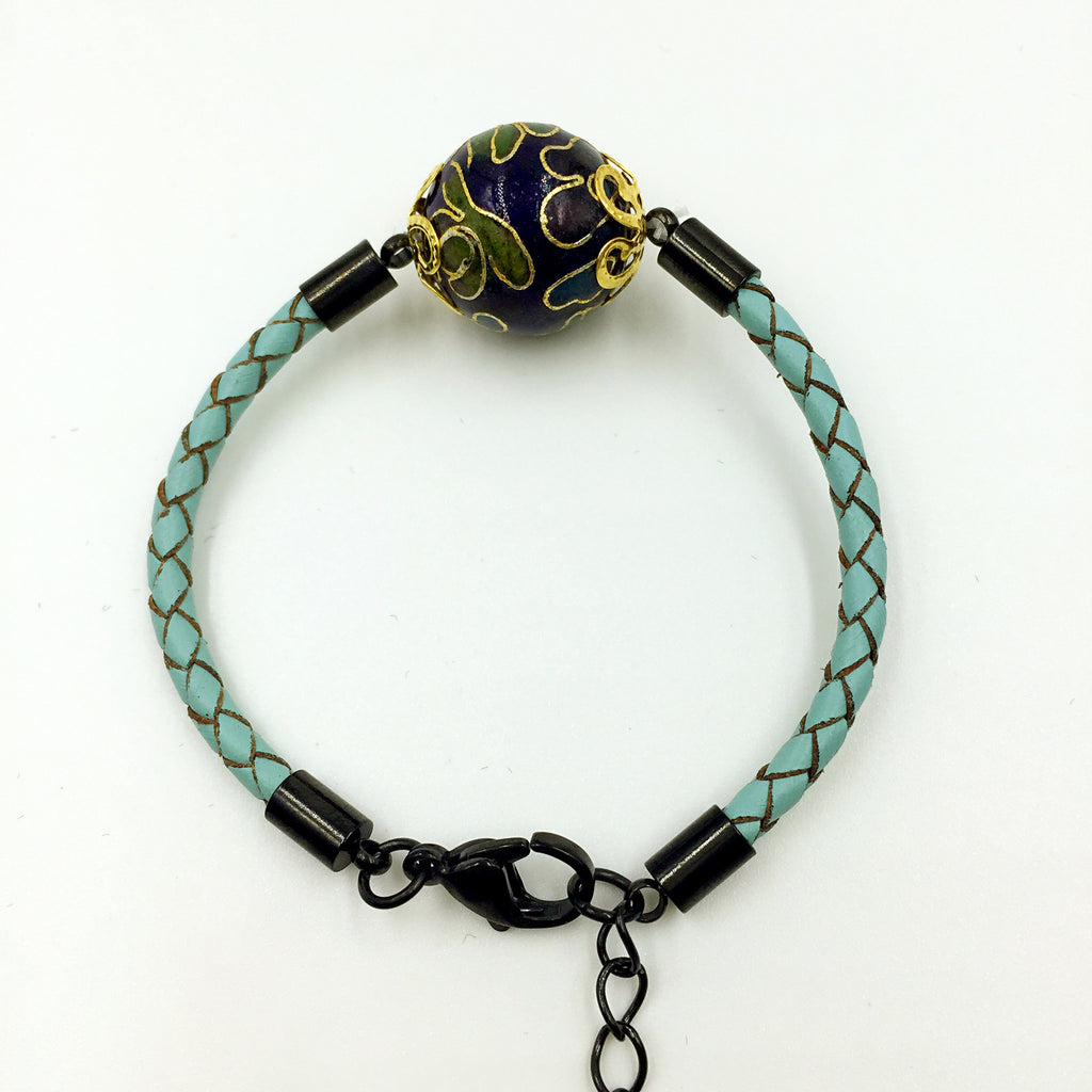 Single Dark Blue Bead on Turquoise Leather,  - MRNEIO LLC