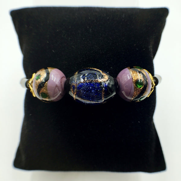 Triple Stellar Blue and Purple Beads on Brown Leather,  - MRNEIO LLC
