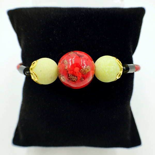 Yellow Macaron Red Bead on Red Leather