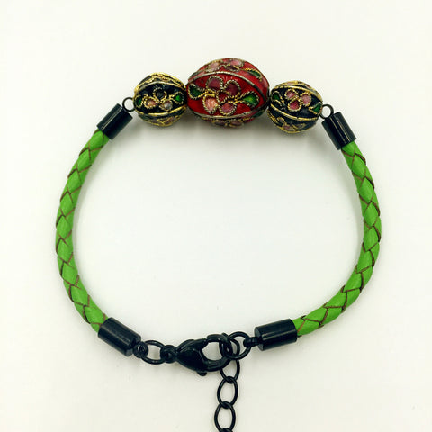 Triple Red and Black Beads on Green Leather,  - MRNEIO LLC