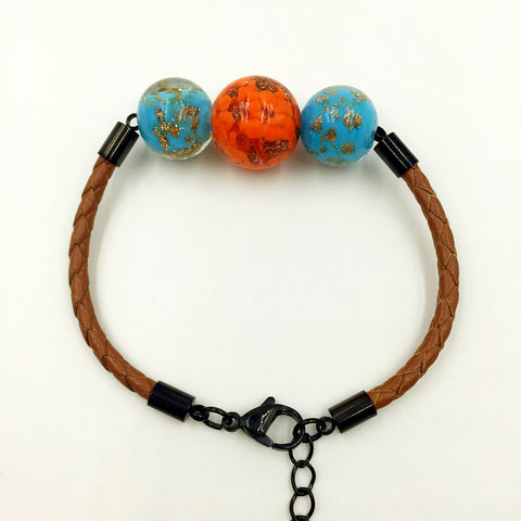 Triple Gold Leaf Orange and Sky Blue Beads on Yellow Brown Leather,  - MRNEIO LLC