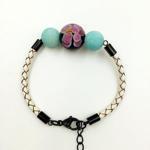 Turquoise Macaron Black Flower Bead on White Leather,  - MRNEIO LLC