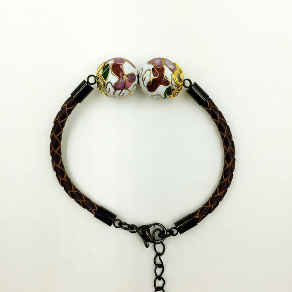Twin White Beads on Brown Leather,  - MRNEIO LLC