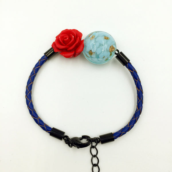 Flower Deco Turquoise Bead on Navy Blue Leather,  - MRNEIO LLC