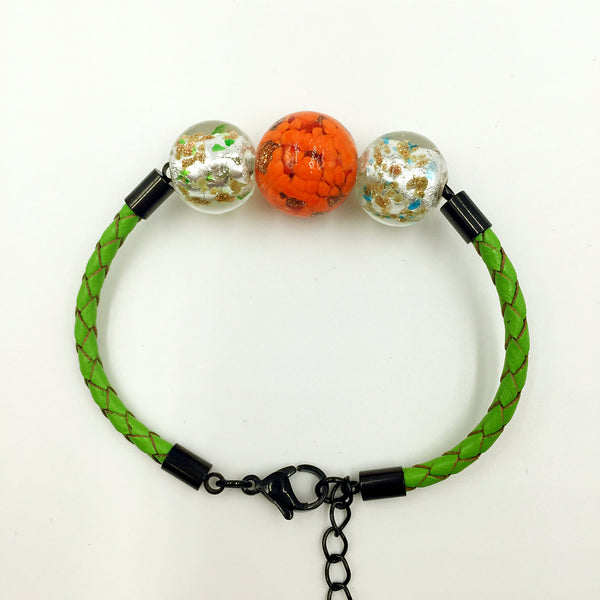 Triple Gold Leaf Orange and White Beads on Green Leather,  - MRNEIO LLC