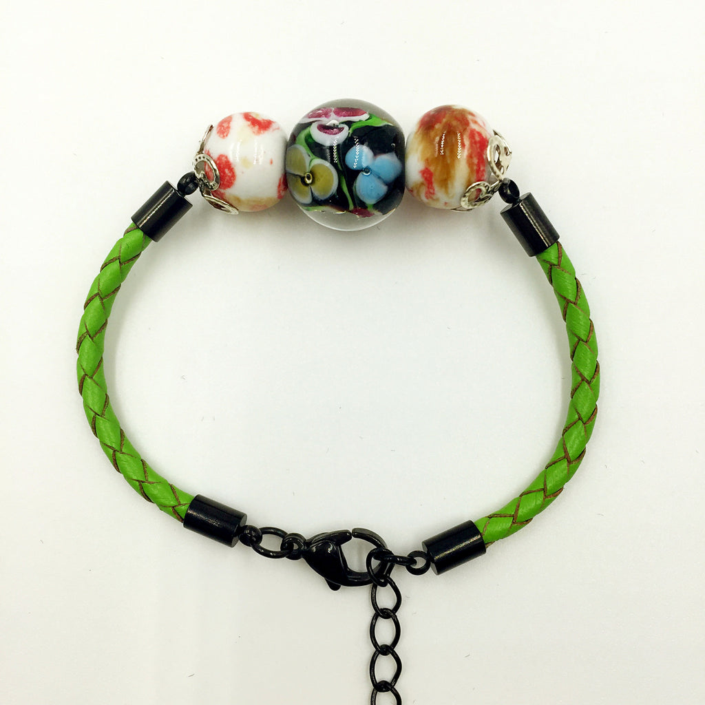 Triple Flower Black and Ceramic Beads on Green Leather,  - MRNEIO LLC