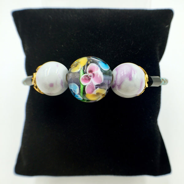 Triple Flower Purple and Ceramic Beads on Turquoise Leather,  - MRNEIO LLC