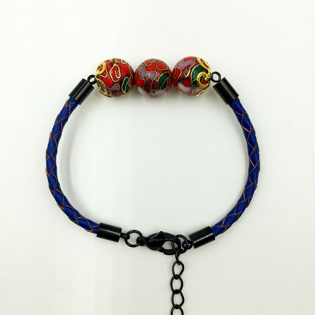 Triple Red Beads on Navy Blue Leather,  - MRNEIO LLC