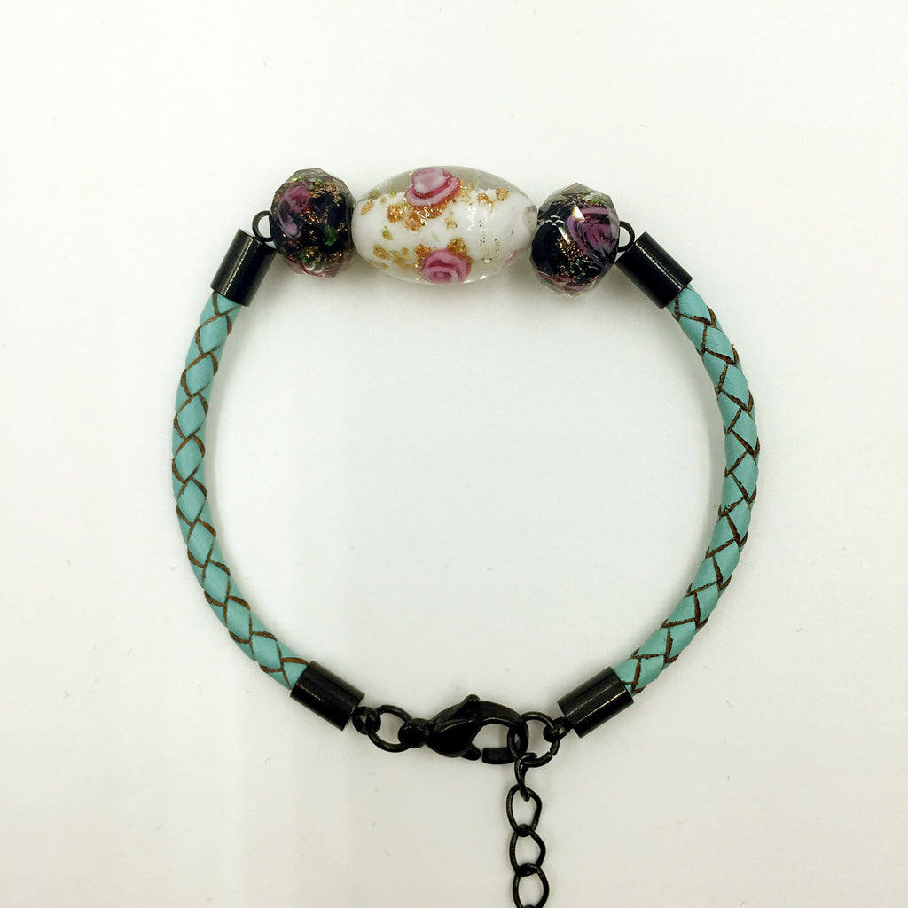 Triple Flower White and Black Beads on Turquoise Leather,  - MRNEIO LLC
