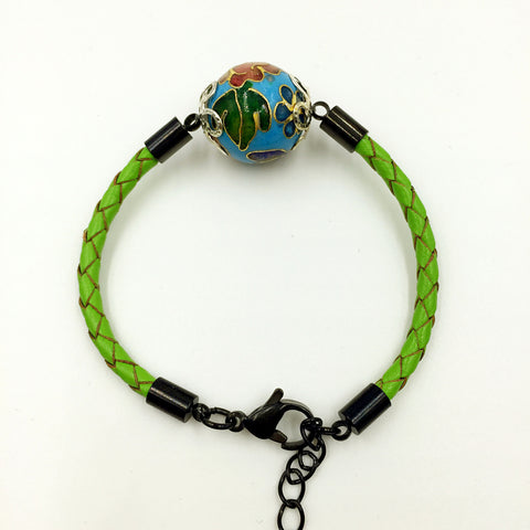 Single Sky Blue Bead on Green Leather,  - MRNEIO LLC