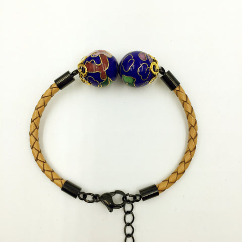 Twin Navy Blue Beads on Beige Leather,  - MRNEIO LLC