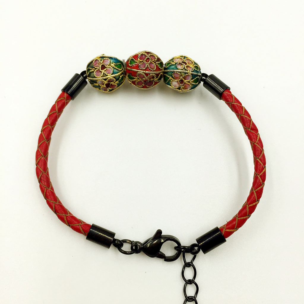 Triple Red and Blue Beads on Red Leather,  - MRNEIO LLC