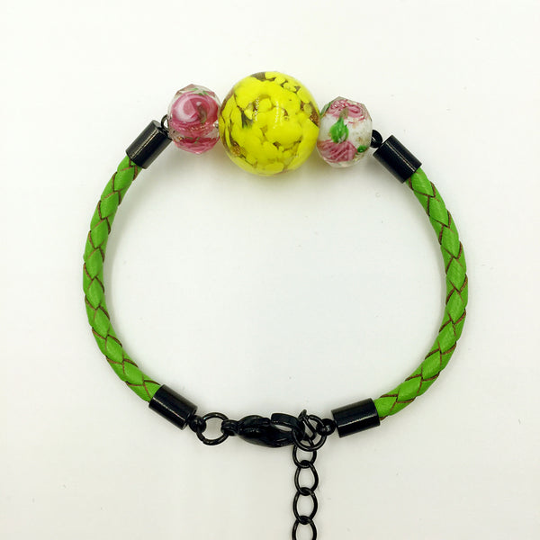 Triple Yellow and Flower White Beads on Green Leather,  - MRNEIO LLC