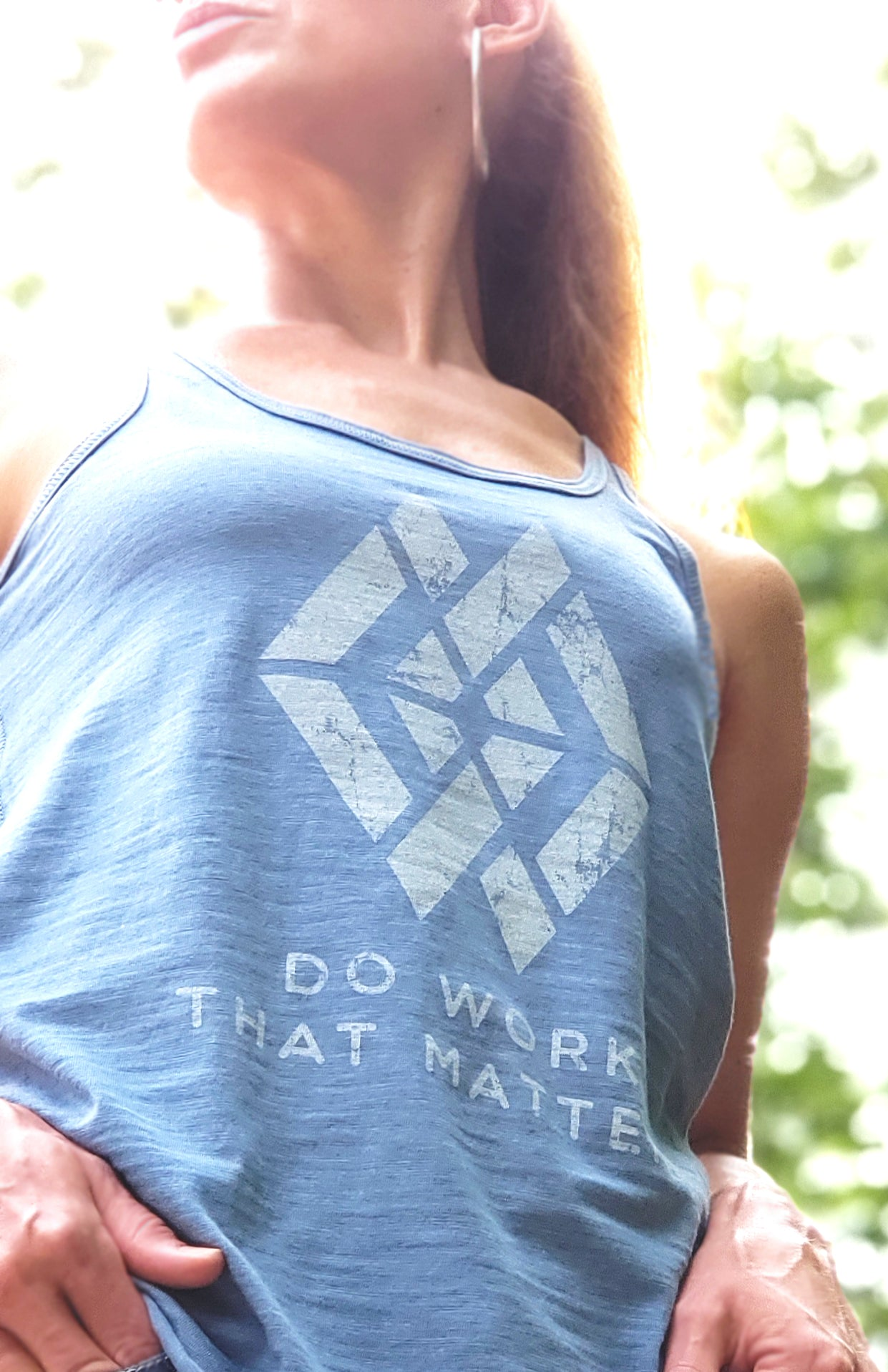 Ladies' DWTM Logo Flowy Racerback Tank - Do Work That Matters