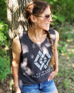 Ladies' DWTM Logo Flowy Scoop Muscle Tank - Do Work That Matters