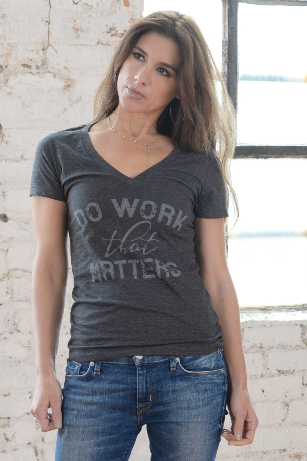Do Work That Matters Ladies' Deep V Neck Tee - Do Work That Matters