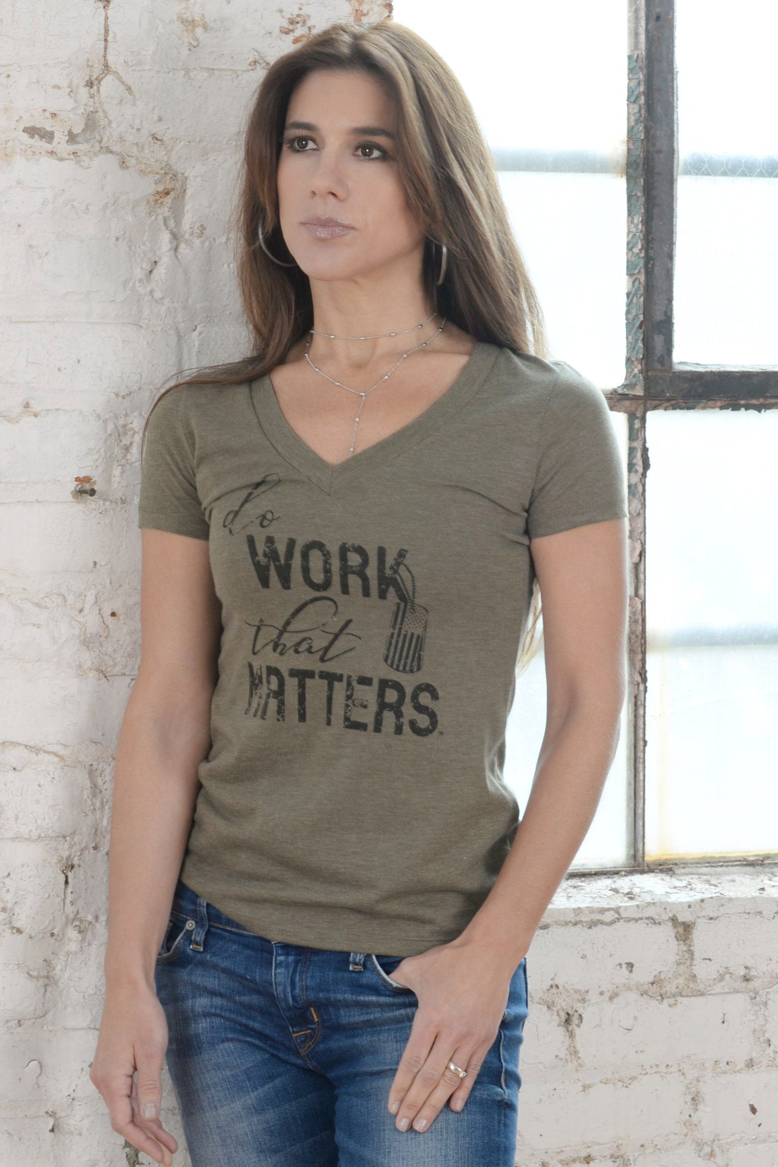 Military Inspired Ladies Deep V Neck Tees - Do Work That Matters