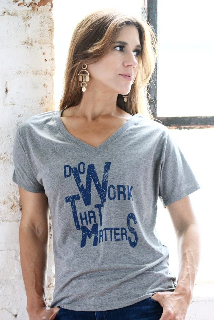 Ladies' Flowy V Neck Tee - Do Work That Matters