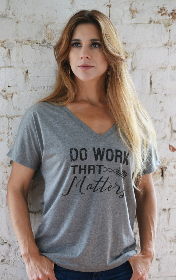 Ladies Military Inspired Flowy V Neck Tee - Do Work That Matters
