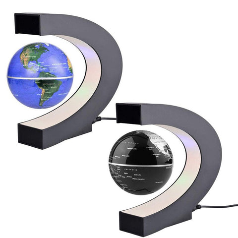 C Shape LED World Map Floating Globe Magnetic Levitation Light