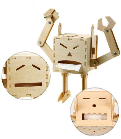 Funny Face of Robot DIY Wooden Self Assembly Tissue Boxes