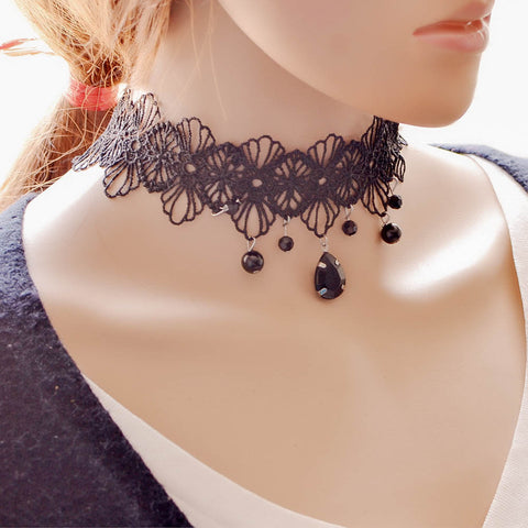 Unique Steampunk Gothic Black Flower Lace Rhinestone Choker Necklace
