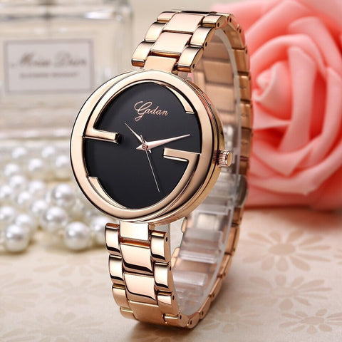 Korean Noble High Quality Rose Gold and Black Alloy Women  Wristwatch