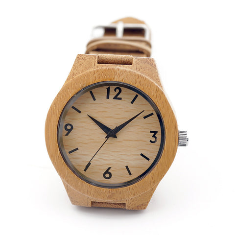 Handmade Women's Bamboo Wristwatch With Genuine Leather Band