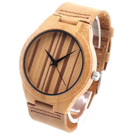 Luxury Men's Design Wooden Bamboo Watches With Real Leather Band