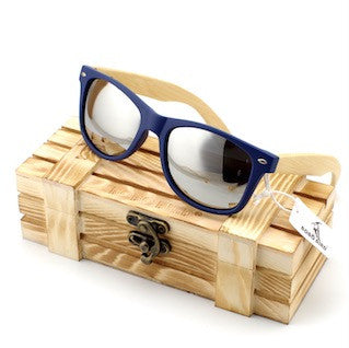 Men's Bamboo Wooden Sunglasses in Vintage Style with Plastic Frame and Polarized UV Protection Color Lens In Gift Box