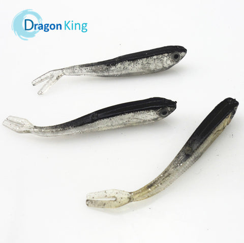Weird Deck - Fake Bait - 10PCS 75mm 2.2g Gray Soft Fishing Lure Lure/Swim Artificial Bait