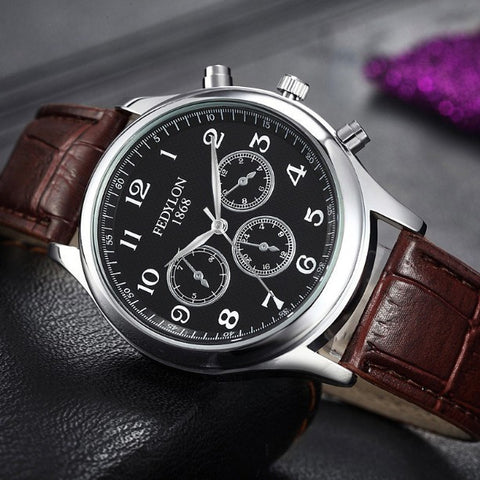 Luxury Casual Leather Strap Men Fashion Wrist Watches