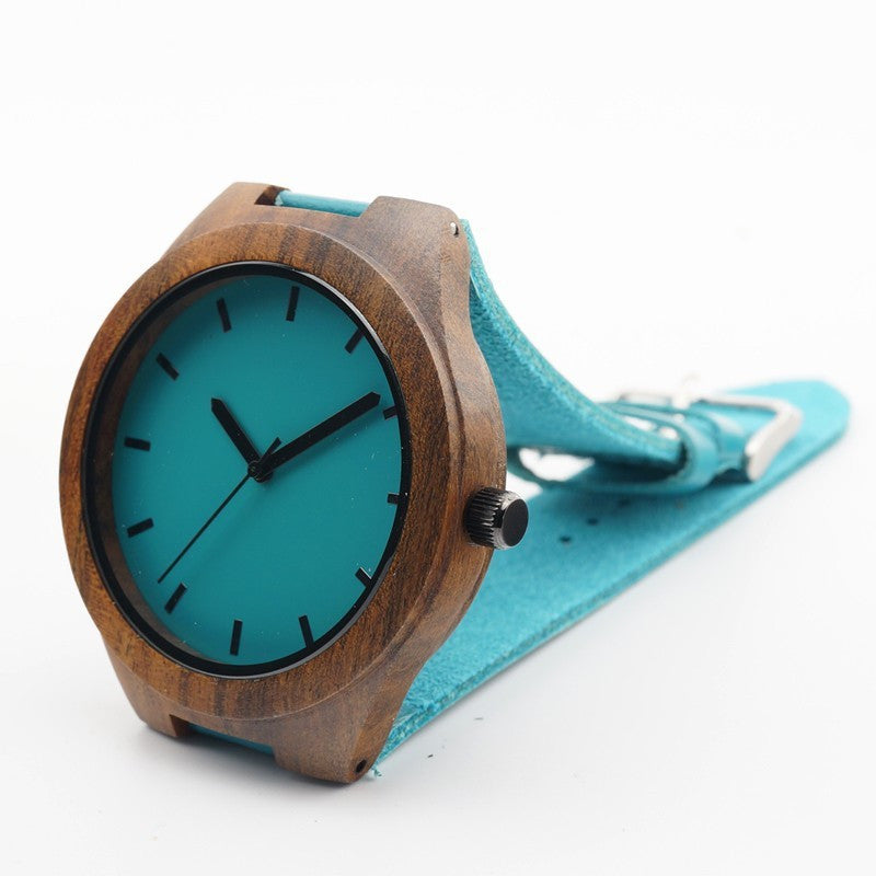 Dark Wooden Wristwatches with Blue Genuine Leather Band Japan Move' Quartz Watch