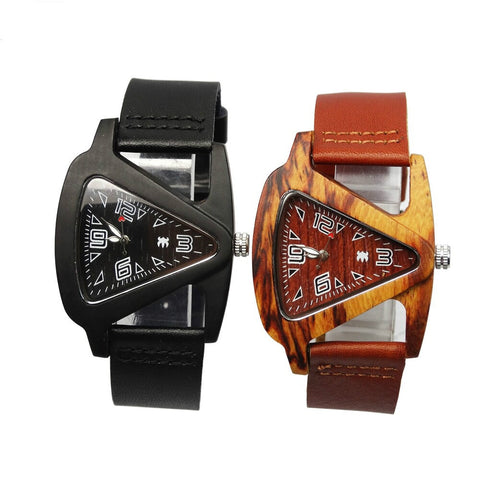 Unisex Charm Glass Analog Quartz Bamboo Wooden Watches With Genuine Leather Band