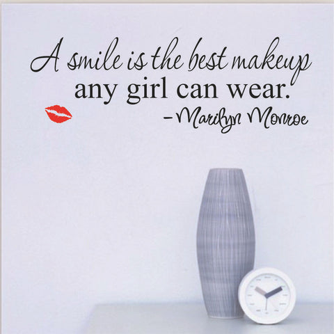 "Home Wall Decals Inspirational Quotes for Woman ""Smile Makeup Lips"""
