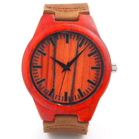 Personalized Design Red Wooden Men's Wristwatch with Brown Genuine Leather Band