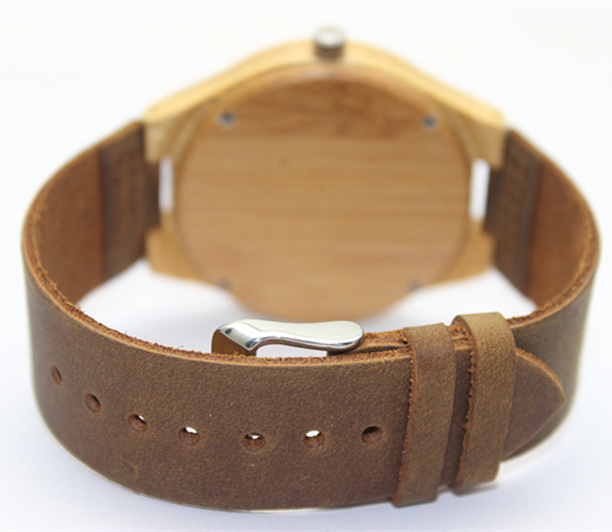 Hot Selling Japanese MIYOTA  Movement Bamboo Wooden Wristwatch With Genuine Leather